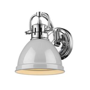Duncan 1-Light Bathroom Vanity Light - Chrome/Grey