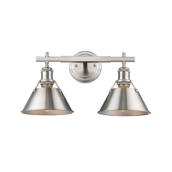 Golden Lighting Orwell PW 2-Light Bathroom Vanity Light - Pewter