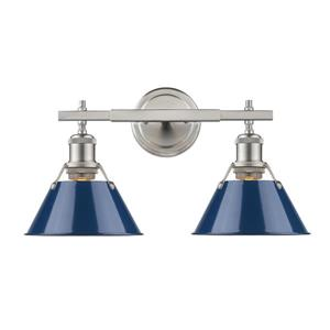 Orwell PW 2-Light Bathroom Vanity Light - Pewter/Navy Blue