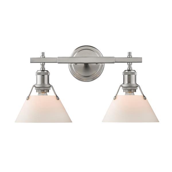 Golden Lighting Orwell PW 2-Light Vanity Bathroomin Light - Pewter