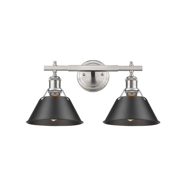 Golden Lighting Orwell PW 2-Light Bathroom Vanity Light - Pewter