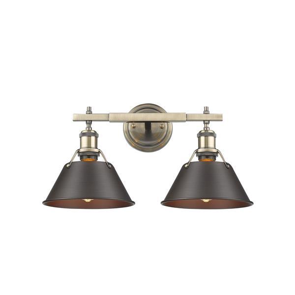 Golden Lighting Orwell AB 2-Light Vanity Light - Aged Brass/Rubbed Bronze