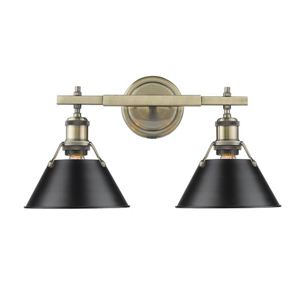 Golden Lighting Orwell AB 2-Light Bathroom Vanity Light - Aged Brass/Black