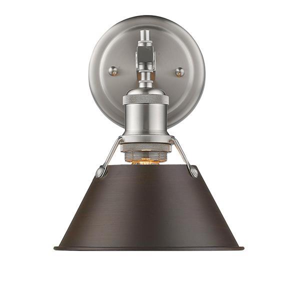 Golden Lighting Orwell PW 1-Light Vanity Light - Pewter/Rubbed Bronze