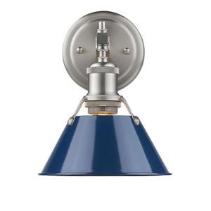 Golden Lighting Orwell PW 1-Light Bathroom Vanity Light - Pewter/Navy Blue