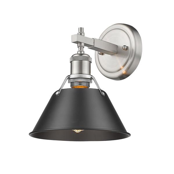 Golden Lighting Orwell PW 1-Light Bathroom Vanity Light - Pewter/Black