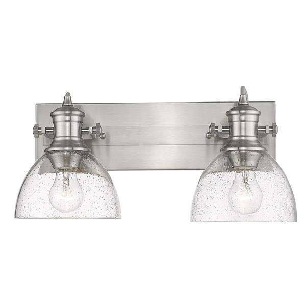 Golden Lighting Hines 2-Light Bathroom Vanity Light - Pewter