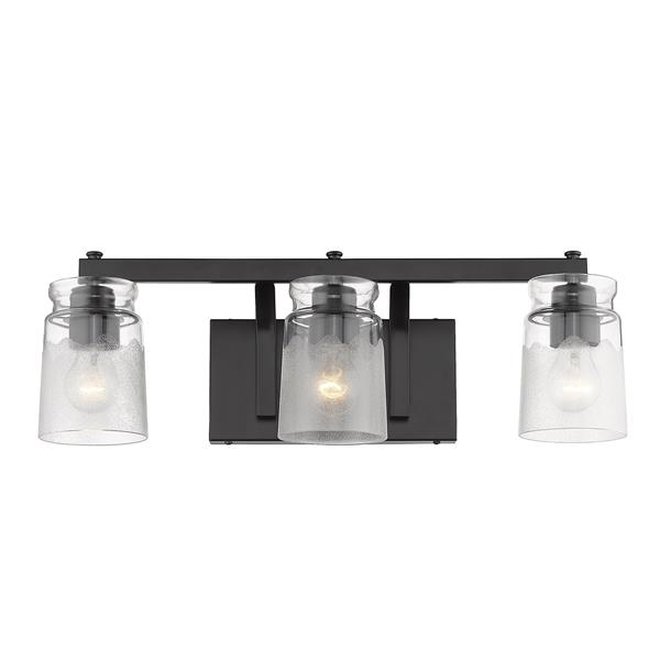 Golden Lighting Travers BLK 3-Light Bathroom Vanity Light - Black