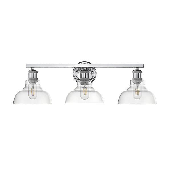 Golden Lighting Carver 3-Light Bathroom Vanity Light - Chrome