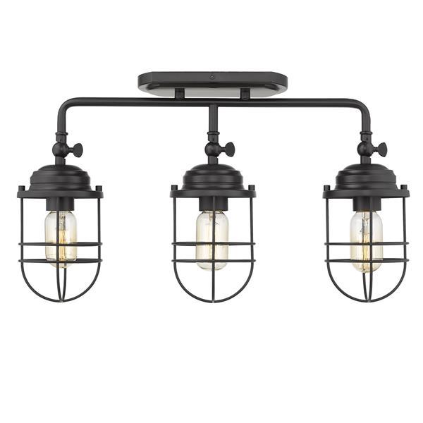 Golden Lighting Seaport 3-Light Semi-Flush Light - Black
