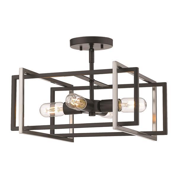 Golden Lighting Tribeca Semi-Flush Light - Black/Pewter