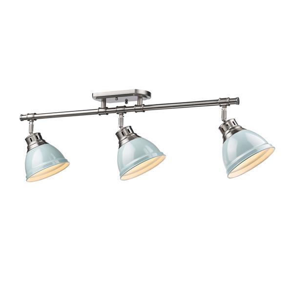 Golden Lighting Duncan 3 Light Semi-Flush Light - Pewter/Seafoam