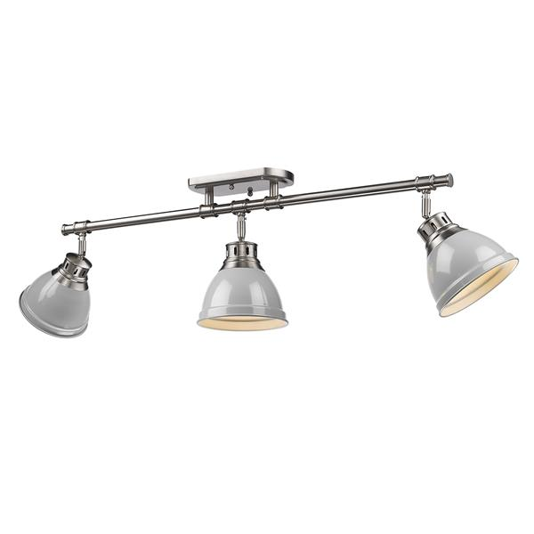 Golden Lighting Duncan 3-Light Semi-Flush Light - Pewter/Gray
