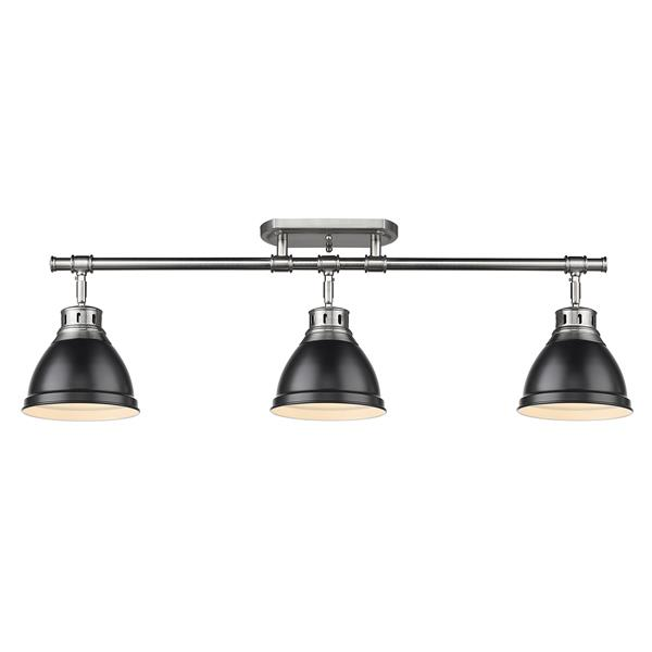 Golden Lighting Duncan 3-Light Semi-Flush Light - Pewter/Black