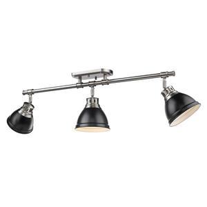 Golden Lighting Duncan 3-Light Semi-Flush Light - Pewter/Black
