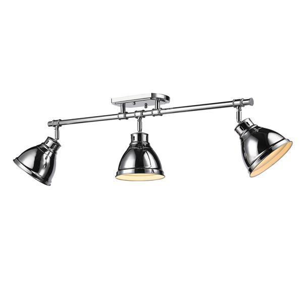 Golden Lighting Duncan 3-Light Semi-Flush Light - Chrome