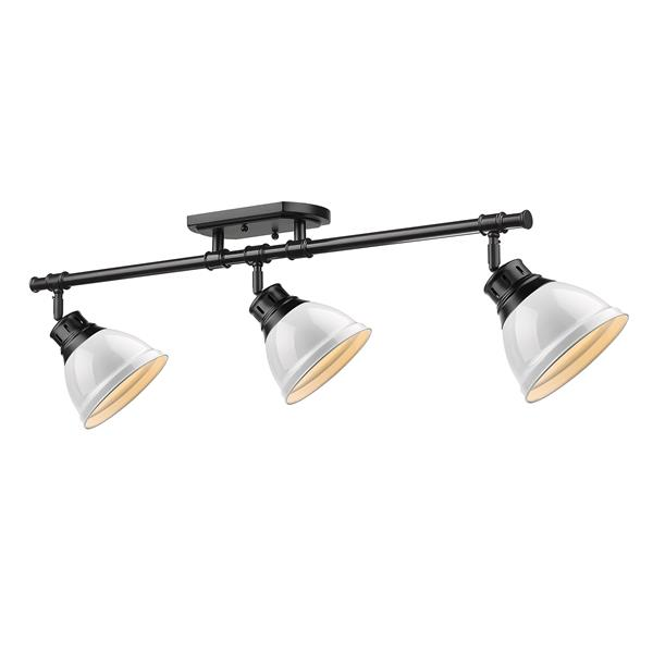 Golden Lighting Duncan 3-Light Semi-Flush Light - Black/White