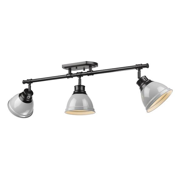 Golden Lighting Duncan 3-Light Semi-Flush Light - Black/Gray