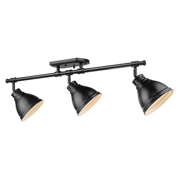 Golden Lighting Duncan 3-Light Semi-Flush Light - Black