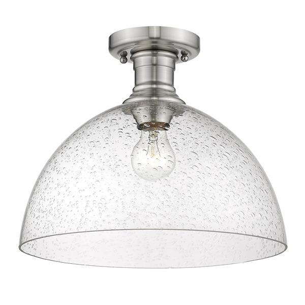 """Golden Lighting Hines Semi-Flush Light - 14"""" - Pewter"""