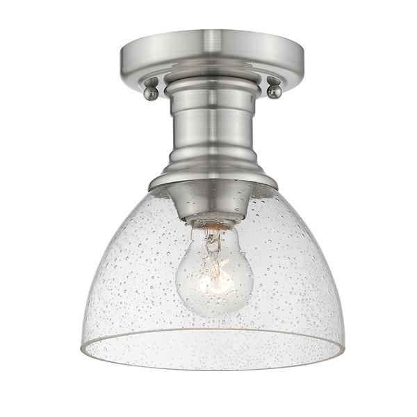 Golden Lighting Hines Semi-Flush in Pewter with Seeded Glass