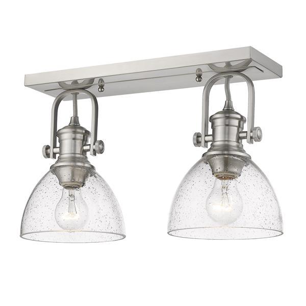Golden Lighting Hines 2-Light Semi-Flush Light - Pewter