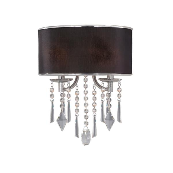 Golden Lighting Echelon 2 Light Wall Sconce in Chrome with Tuxedo Shade