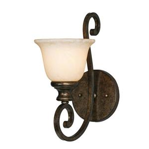 Heartwood 1 Light Wall Sconce in Bronze with Tea Stone Glass