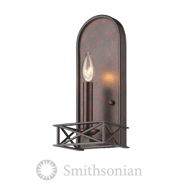 Golden Lighting Smithsonian Gateway 2 Light Wall Sconce in Fired Bronze