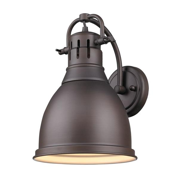 Golden Lighting Duncan 1 Light Wall Sconce in Rubbed Bronze and Bronze Shade