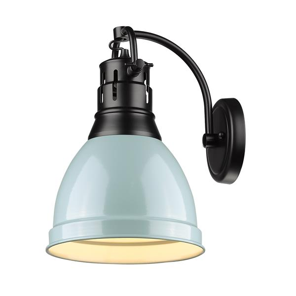 Golden Lighting Duncan 1 Light Wall Sconce in Black with a Seafoam Shade