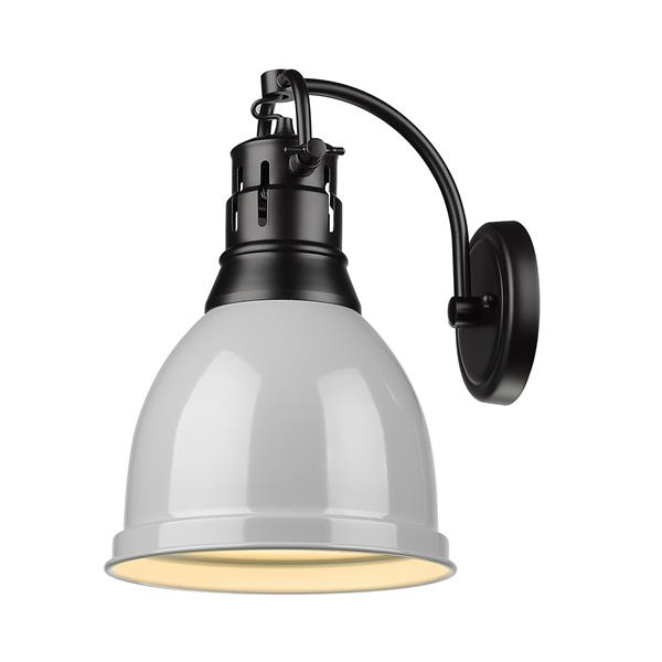 Golden Lighting Duncan 1 Light Wall Sconce in Black with a Gray Shade