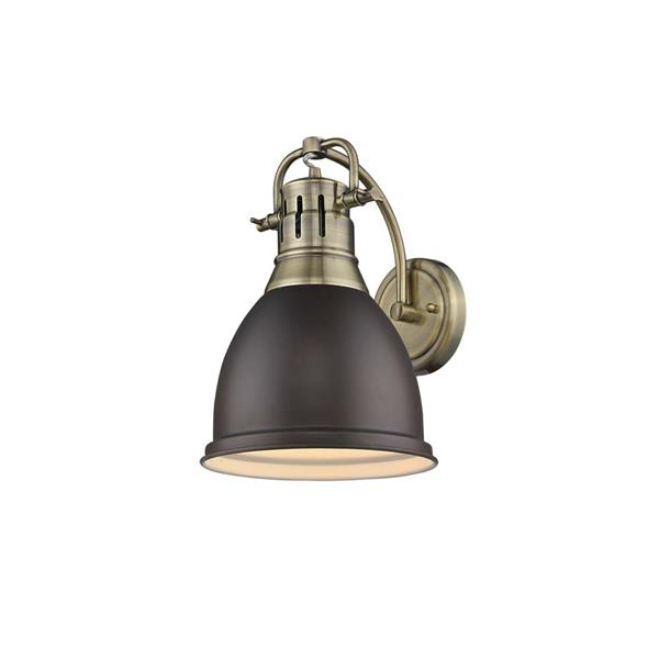 Golden Lighting Duncan 1 Light Wall Sconce in Aged Brass with a Bronze Shade