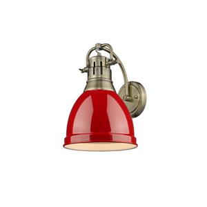 Duncan 1 Light Wall Sconce in Aged Brass with a Red Shade