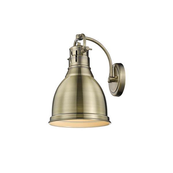 Golden Lighting Duncan 1 Light Wall Sconce Aged Brass and Aged Brass Shade