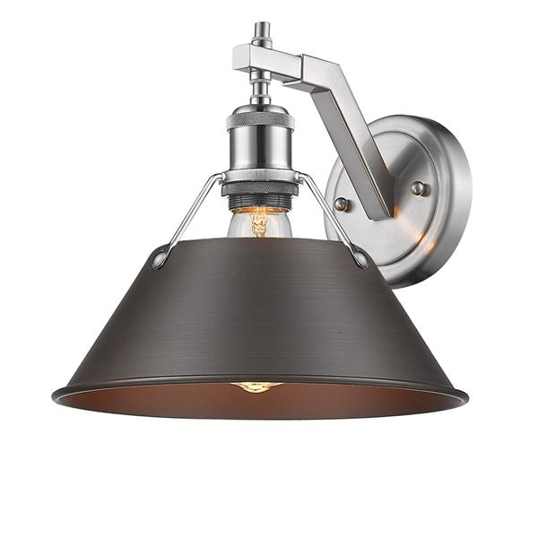 Golden Lighting Orwell 1 Light Wall Sconce in Pewter and Rubbed Bronze Shade