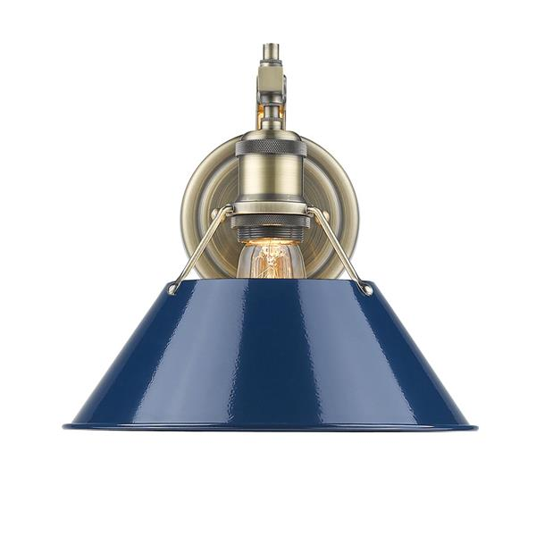Golden Lighting Orwell 1 Light Wall Sconce in Aged Brass and Navy Blue Shade