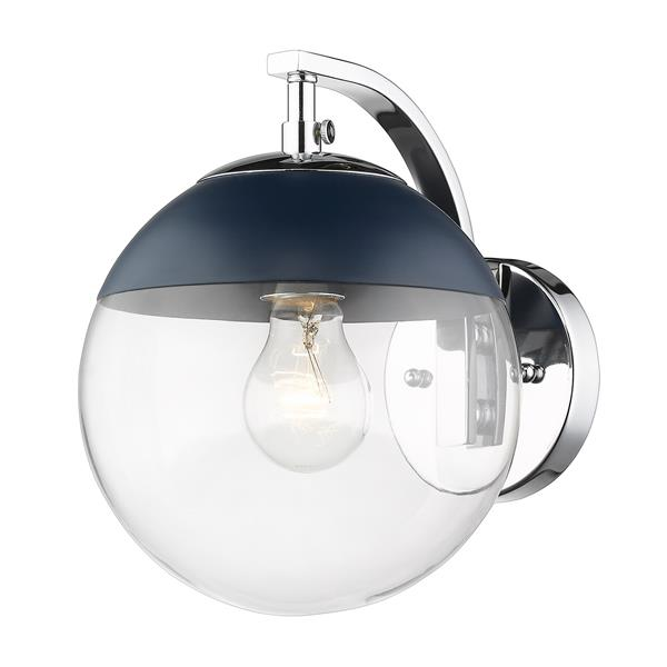 Golden Lighting Dixon Sconce in Chrome with Clear Glass and Navy Cap