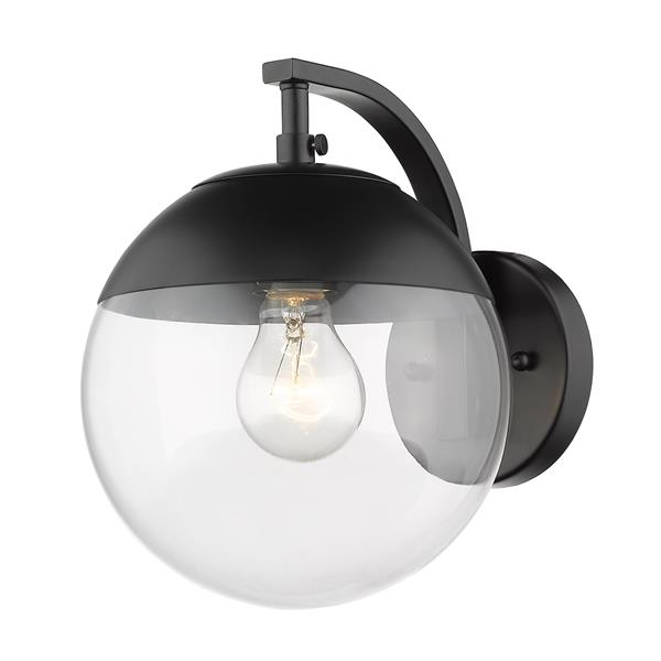 Golden Lighting Dixon Sconce in Black with Clear Glass and Black Cap