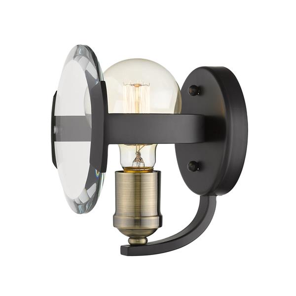 Golden Lighting Amari 1 Light Wall Sconce in Black with Aged Brass Accents