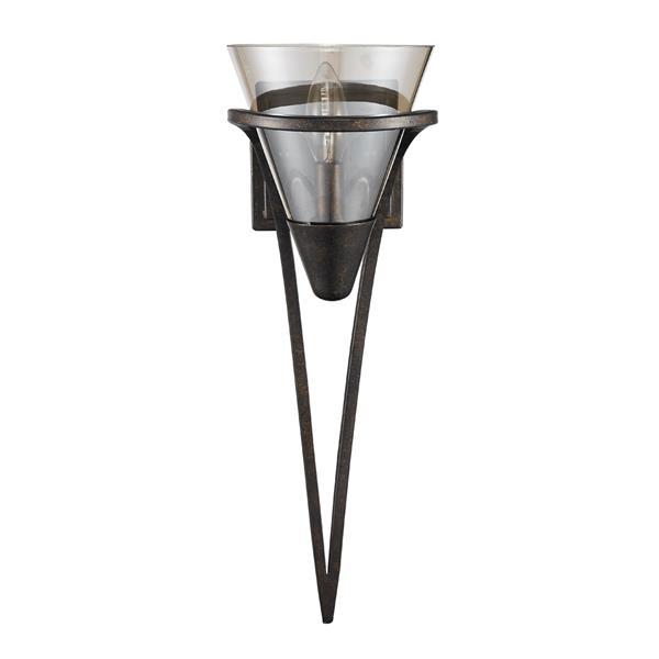 Golden Lighting Olympia 1 Light Wall Sconce in Burnt Sienna with Amber Glass