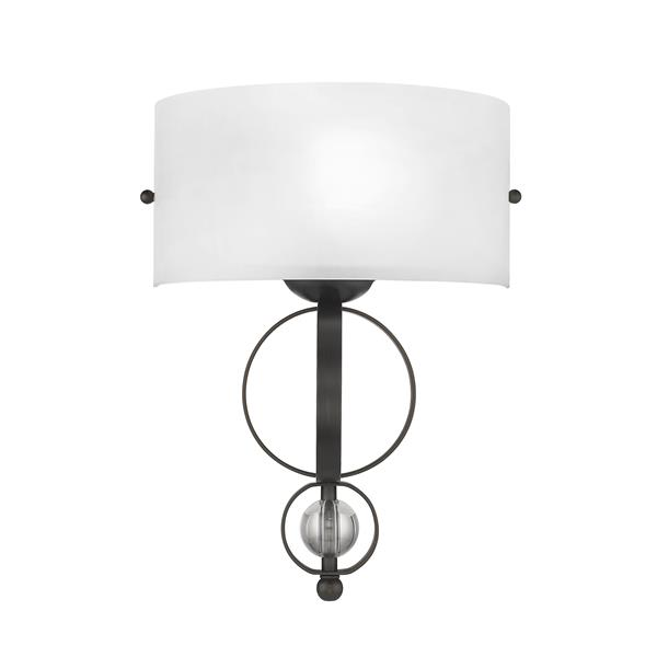 Golden Lighting Cerchi Wall Sconce in Rubbed Bronze with Etched Opal glass