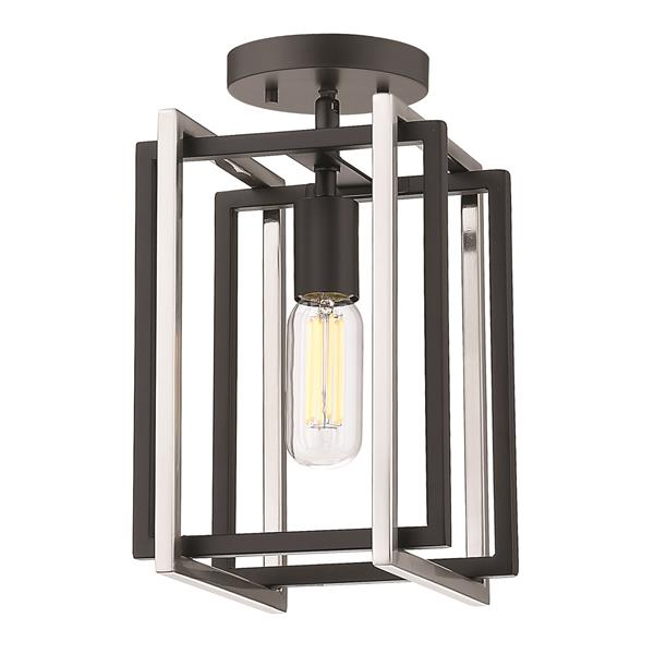 Golden Lighting Tribeca 1-Light Semi-Flush Light - Black/Pewter