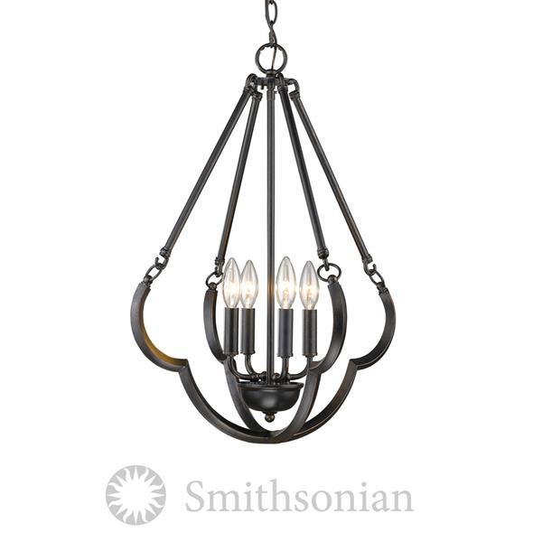 Golden Lighting Smithsonian 4-Light Pendant Light - Aged Bronze