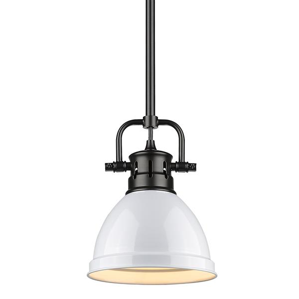 Golden Lighting Duncan Mini Pendant Light with Rod - Black