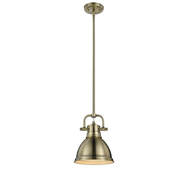 Golden Lighting Duncan Mini Pendant Light with Rod - Aged Brass