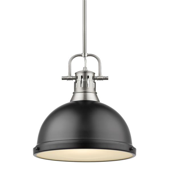 Golden Lighting Duncan 1-Light Pendant Light with Rod - Pewter