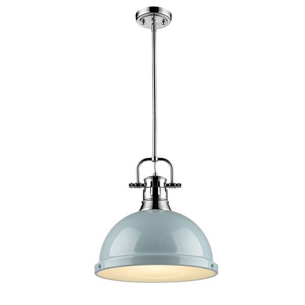 Golden Lighting Duncan 1-Light Pendant Light with Rod - Chrome