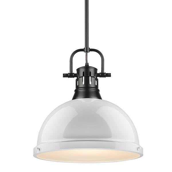 Golden Lighting Duncan 1-Light Pendant Light with Rod - Black