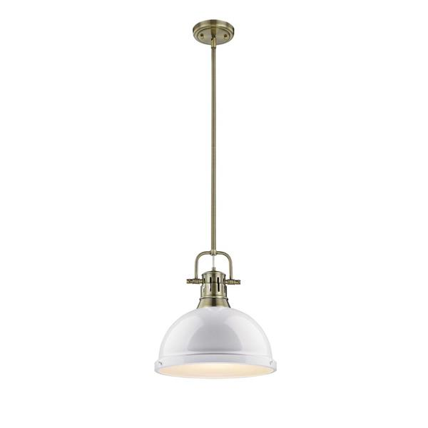 Golden Lighting Duncan 1-Light Pendant Light with Rod - Aged Brass